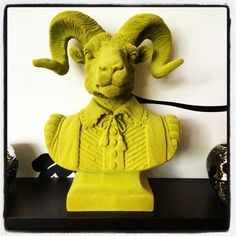 Lime Green Flocked Rams Bust