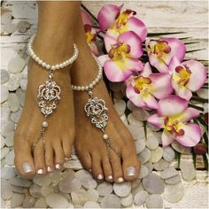 84b86589c9404d ROYAL pearl barefoot sandals - silver. Barefoot Sandals WeddingBridal  SandalsBarefoot ShoesWedding ShoesWedding StuffFootless ...