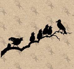 Vintage image Birds on branch  Instant Download Digital printable clipart graphic - scrapbooking, decoupage, burlap, kraft etc HQ 300dpi by UnoPrint on Etsy