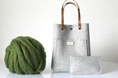 100 % Design Wolle Filz mit Ledergriffen Geldbörse Wolle von Lefrac
