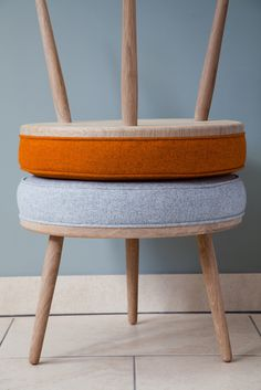 Galvin Brothers - Moonshine Footstool - in Rust and Flint. Handcrafted furniture made in England. #oak #wool #furniture #design