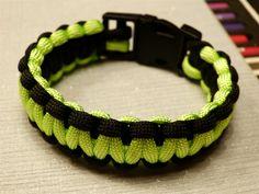 Uni Paracord Birdie armband, two-tone zwart & lime/yellow