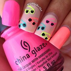 """Things used: China Glaze-""""Too Yacht to Handle"""" """"Shocking Pink"""" & """"Flip Flop Fantasy"""" OPI-""""Bubble Bath"""" Orly-""""Glowstick"""" & glosser top coat  Acrylic paint  Toothpick"""