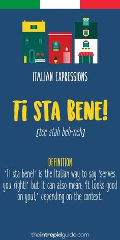op 10 Italian Expressions – Ti sta bene op 10 Italian Expressions – It looks good on you Italian Grammar, Italian Vocabulary, Italian Phrases, Italian Words, Italian Quotes, Italian Language, Vocabulary Words, Italian Lessons, French Lessons