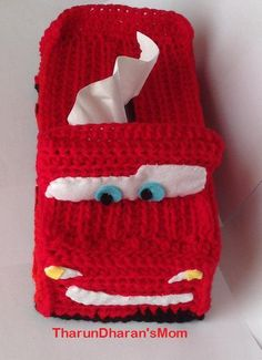 Lightning McQueen Cars Tissue Box Cover/crochet pattern/instant download/PDF File. Skill level The skill level is for beginner, however you should already know the basic stitches like chain, single crochet, half dou-ble crochet. you should know how to cro-chet in rows as well