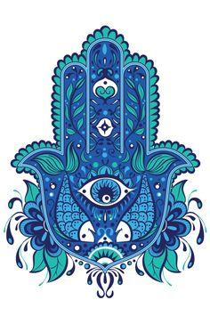 Blue, Khamsa, Hamsa, Design, Fatima, Hand,