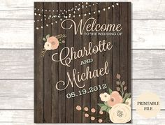 Rustic Wedding Welcome Sign Printable File To Our