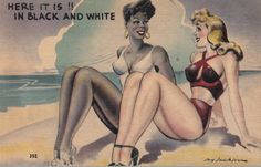 Retro art of black and white women sitting together