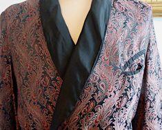 Long peignoir / robe de chambre pour homme, brocart au motif cachemire, années 40