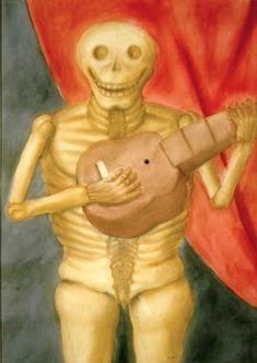 LA MUERTE TOCANDO GUITARRA,  Autor: Botero, Fernando Fecha de creación: 1982 Técnica: Acuarela sobre papel