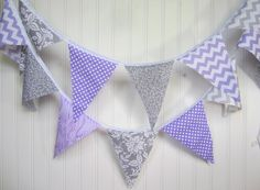 Purple Lilac Lavender Gray Damask Polka Dot  Birthday Party Wedding Girls room baby  Bunting Banner sign  party by WestofChelsea on Etsy https://www.etsy.com/listing/193906009/purple-lilac-lavender-gray-damask-polka