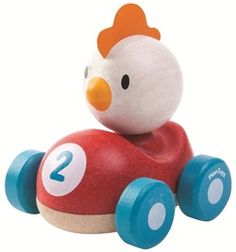 Chicken Racer by Plan Toys Ready. Race all your friends in this cute chicken racer new by Plan Toys. With a gentle curve design it's easy for little ones to grab and push and helps develop fine motor skills. It's easy roll wheels means y Toddler Toys, Kids Toys, Children's Toys, Chicken Race, Toys For Little Kids, Cute Chickens, Plan Toys, Curve Design, Non Toxic Paint