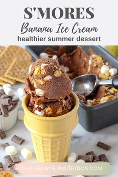 Get your s'mores fix without a campfire with this Dairy Free S'mores Ice Cream, full of chocolate chunks, chewy marshmallows, and graham cracker pieces, over a base of chocolate banana ice cream. #dairyfree #healthydessert #smores #dessert #chocolateicecream #summerrecipes #healthyrecipes | chelseyamernutrition.com Healthy Summer Recipes, Summer Desserts, Fun Desserts, Delicious Desserts, Banana Ice Cream Healthy, Chocolate Banana Ice Cream, Healthy Dessert Recipes, Healthier Desserts, Smores Dessert