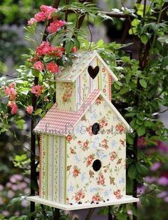 romantic floral birdhouse