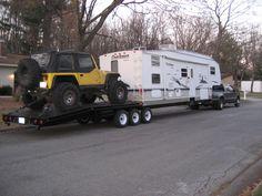48' Crawler Hauler                                                                                                                                                                                 More Toy Hauler Trailers, Toy Hauler Camper, Cargo Trailer Camper, Trailer Build, Car Trailer, Utility Trailer, Truck Camper, Flatbed Trailer, Off Road Camping
