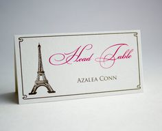 Paris Theme  Wedding Place Cards - French Style Wedding Theme - Eiffel Tower Tent Place Cards