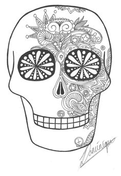 for upper grades: have kids draw in their own intricate sugar skull designs