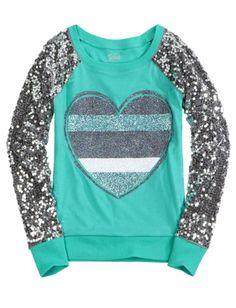 Sequin Sleeve Knit Sweatshirt | Girls Long Sleeve Tops & Tees | Shop Justice