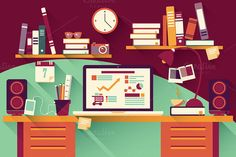 Check out Flat Design Office Desk 03 by Blue Lela Illustrations on Creative Market