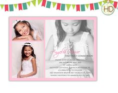 First Communion Invitation 1st Communion Party by HDInvitations