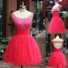 2015 Real Image Short Homecoming Dresses Scoop Neck Sequins Beaded Top Organza Sheer Backless Pleats 2014 Prom Graduation Dresses SU03, $82.98   DHgate.com