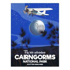 Scottish Highlands Cairngorms flight poster Postcard