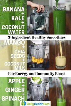 3-Ingredient Smoothies For More Energy and a Supercharged Immunity Boost #healthy#smoothie http://healthyquickly.com