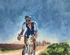 Final Paris-Roubaix, Tom Boonen, 2017. Original painting by Rachel Petruccillo