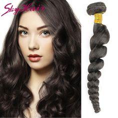 brazilian loose wave virgin hair 2pcs lot natural black color #1b aliexpress cheap human hair weave sky false hair loose wave
