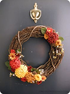 Librarian Tells All: I Love Fall! Autumn Grapevine Wreath with Felt Flowers and Sweet Gum Pods