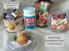 DIY Decoupage on Glass -- YES, It's That EASY!! Make Dishwasher safe plates, cups, bowls, and more with this craft!