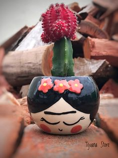 Maceta Frida by Tijuana Store❤️ Painted Flower Pots, Painted Pots, Recycled Planters, Mexican Garden, Blue Wedding Decorations, Quirky Decor, Farmhouse Wall Art, Cactus Y Suculentas, Crafts To Do