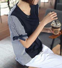 国内送】韓国ファッション☆2色!配色リボンルーズトップス