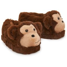 PS From Aeropostale Kids  Fuzzy Monkey Slippers ( 14) ❤ liked on Polyvore  Pantoufles 9664ab164937
