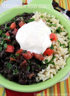 Cuban-Style Black Bean and Rice Bowls | Cinnamon Spice & Everything Nice