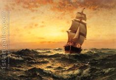 Ship at Sea, Sunset by Edward Moran