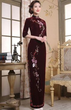 Classy Burgundy Velour Cheongsam with Flower Embroidery for Mother - iDreamMart.com