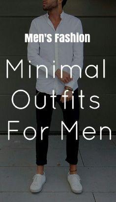 Mens Fashion Minimal Outfits For Men. Big Men Fashion, Mens Fashion Blog, Best Mens Fashion, Fashion Mode, Fashion Advice, Fashion Ideas, Mens College Fashion, Fashion Menswear, Fashion Styles