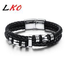 LKO Wholesale 2017 new fashion jewelry men bracelets genuine leather titanium steel Bracelet male Vintage creative Boutique