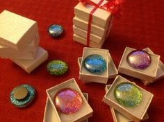 glittery glass marble magnets