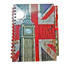 Classic Big Ben Clock Notebook and Matching Pen! Distressed London Union Jack GB UK Note book Notepad Notepad Note Pad ! Souvenir / Speicher / Memoria! Fashionable, Cool British Souvenir! A Unique and Memorable Gift! Carnet / Notizbuch / Taccuino / Cuader