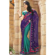 Purple and Teal Faux Georgette and Jacquard Saree With Blouse. $106.99