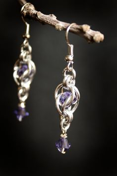 Captive Swarovski Earrings Tanzanite
