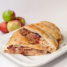 Apples and cranberries sauteed in bourbon and wrapped in puff pastry