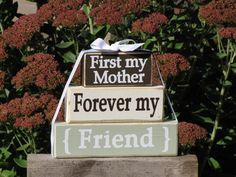 "Gift idea for Mom. Wood Stacking Block Stack: ""First my mother, forever my friend"" - Christmas gift for Grandma, Nana. Grandparents Day on Etsy, $25.50"