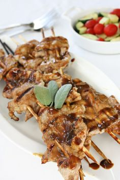 Garlic-mustard Glazed Skewers Recipe — Dishmaps