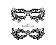 Set of 2 Printable Masks Masquerade Masks carnival by evascreation