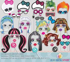 Monster Girls Photo Booth Props for girly by JoJoDigitalStore