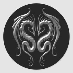 Shop Iron Dragons Classic Round Sticker created by JeffBartels. Winged Serpent, Deep Silver, Dragon Face, Welsh Dragon, Dragon Tattoo Designs, Round Stickers, Wood Carving, Custom Stickers, Black Backgrounds