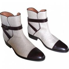 AIGLE Bicolour boots, leather, canvas.
